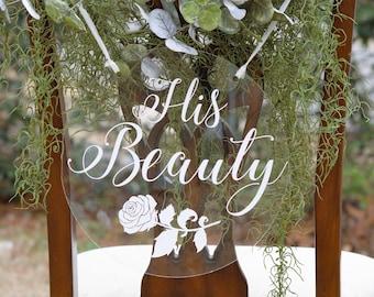 Acrylic Wedding Chair Signs, Acrylic Wedding Sign, Round Chair Signs Custom Bride And Groom Photo Prop, Sweetheart Table Decor, Boho Wedding