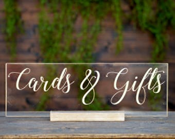Acrylic Cards And Gifts Sign, Clear Cards And Gifts Sign For Wedding, Clear Acrylic Wedding Sign, Bar Menu Sign Wedding, Lucite Cards Signs