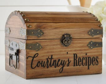 Wood Recipe Box, Customized Recipe Box, Farmhouse Kitchen Decor, Personalized Gift For Her, Housewarming Gift, Pantry Organization
