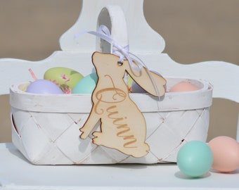 Personalized Easter Basket Tag, Custom Easter Basket Labels, Bunny Easter Charm, Personalized Gift Tag Bunny Shape Or Carrot Shape