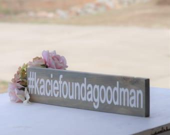 "Wedding Hashtag Sign, Gray Wooden Hashtag Sign, Rustic wedding sign, Photo Prop, Custom Sign, 3.5"" x 15"""