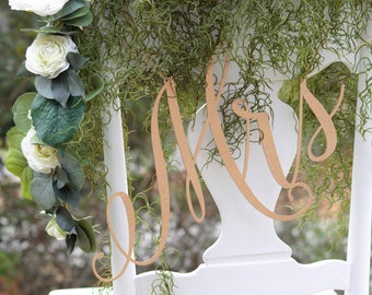 Mr and Mrs Sign Laser Cut Wooden Chair Signs For Wedding Bride And Groom Chair Signs Sweetheart Table Decor Head Table Boho Wedding