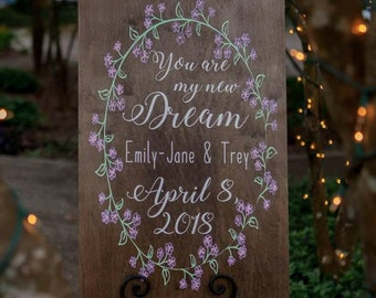 You Are My New Dream Wedding Welcome Sign Ideas Lavender Wedding Welcome To Our Wedding Rustic Wedding Welcome Signs Princess Custom Colors