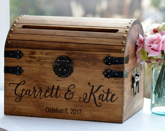 Rustic wedding card box | Etsy