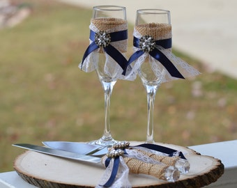 Rustic chic cake serving set vintage chic cake knife set shabby chic cake knife and mr and mrs glasses nautical wedding cake serving set burlap and lace wedding decor rustic bling junglespirit Image collections