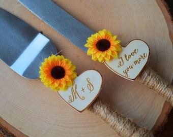 Sunflower Wedding Cake Knife Set, Fall Wedding Cake Serving Set, Personalized Cake Cutter And Server, Rustic Wedding Shower Gift S1