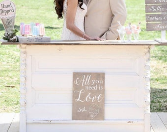 All You Need Is Love And Ice Cream Sign Ice Cream Sundae Bar Sign Ice Cream Bar Ice Cream Sign Rustic Wedding Signs Wooden Custom Colors