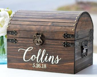 Boho Wedding Card Box, Rustic Card Box With Slot, Bridal Shower Card Keeper, Wedding Keepsake Trunk, Barn Wedding Decor