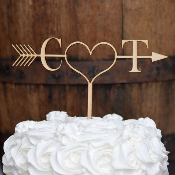 Rustic Arrow Cake Topper Initials Cake Topper Rustic Wedding Cake Topper Ideas Boho Cake Topper Wedding Cake Decorations