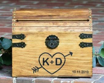 Rustic Wedding Card Box with Heart and Initials Personalized Wedding Card Box Ideas Wood Card Box With Lock Option Wedding Keepsake Box