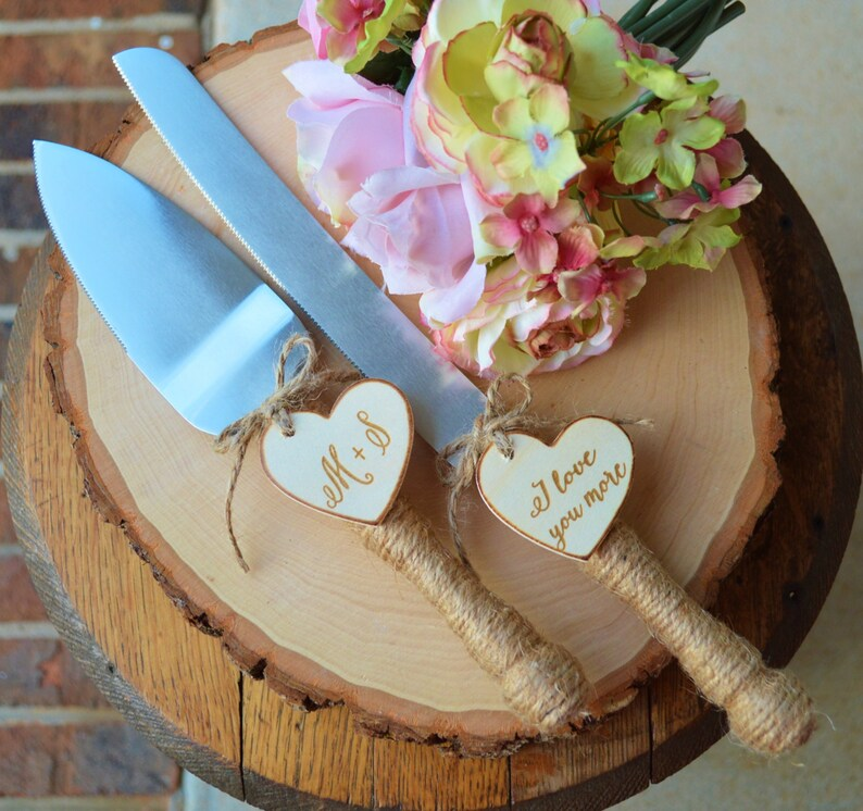 Personalized Rustic Wedding Cake Cutter And Knife Customized image 1