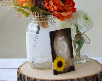 sunflower table numbers, sunflower wedding, rustic fall wedding, country farm wedding, garden reception table decor, buralp decor S1