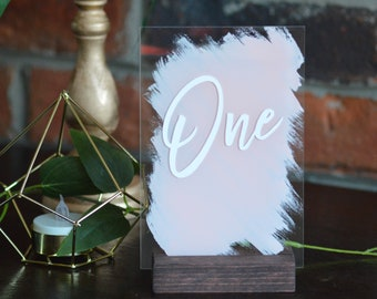 Wedding Table Numbers Acrylic Table Numbers Clear Table Number With Stand Blush Pink Baby Shower Table Numbers Laser Cut Acrylic Lucite