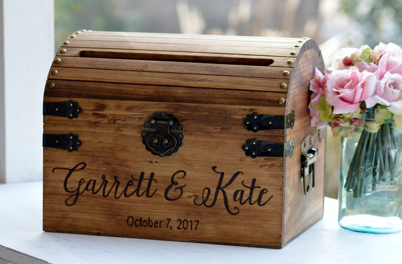 Wooden Card Box Rustic Card Box With Slot Bridal Shower Card image 0