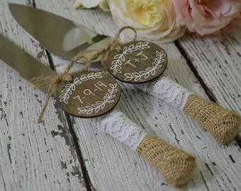 burlap and lace wedding cake knife, laurel wreath wedding cake cutting set, rustic reception decor, country reception decorations
