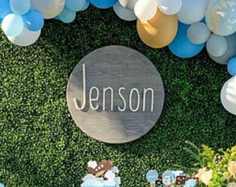 Round Baby Name Sign Nursery Name Sign Wooden Name Sign Nursery Decor Name Reveal Custom Name Sign Baby Shower Decor Circle Name Sign