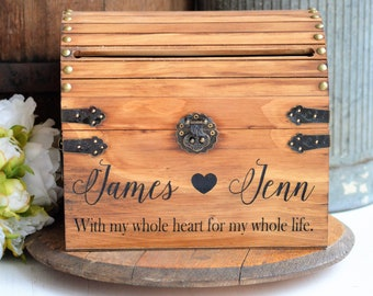 Personalized Card Box Rustic Wedding Card Box With Slot Wood Card Box With Lock Option Wedding Keepsake Chest Custom With Heart