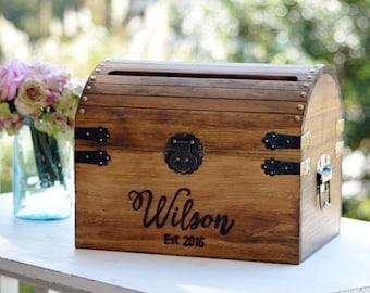Personalized Wedding Card Box, Wood Wedding Card Box With Slot, 5th Anniversary Gift, Wedding  Memory Chest, Custom Keepsake Trunk