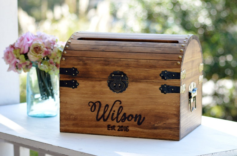 Wedding Card Box Wood Wedding Card Box With Slot 5th image 0