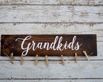 Grandkids sign picture holder, grandkids make life grand, grandparents picture frame, home decor, gift for grandparents, photo display