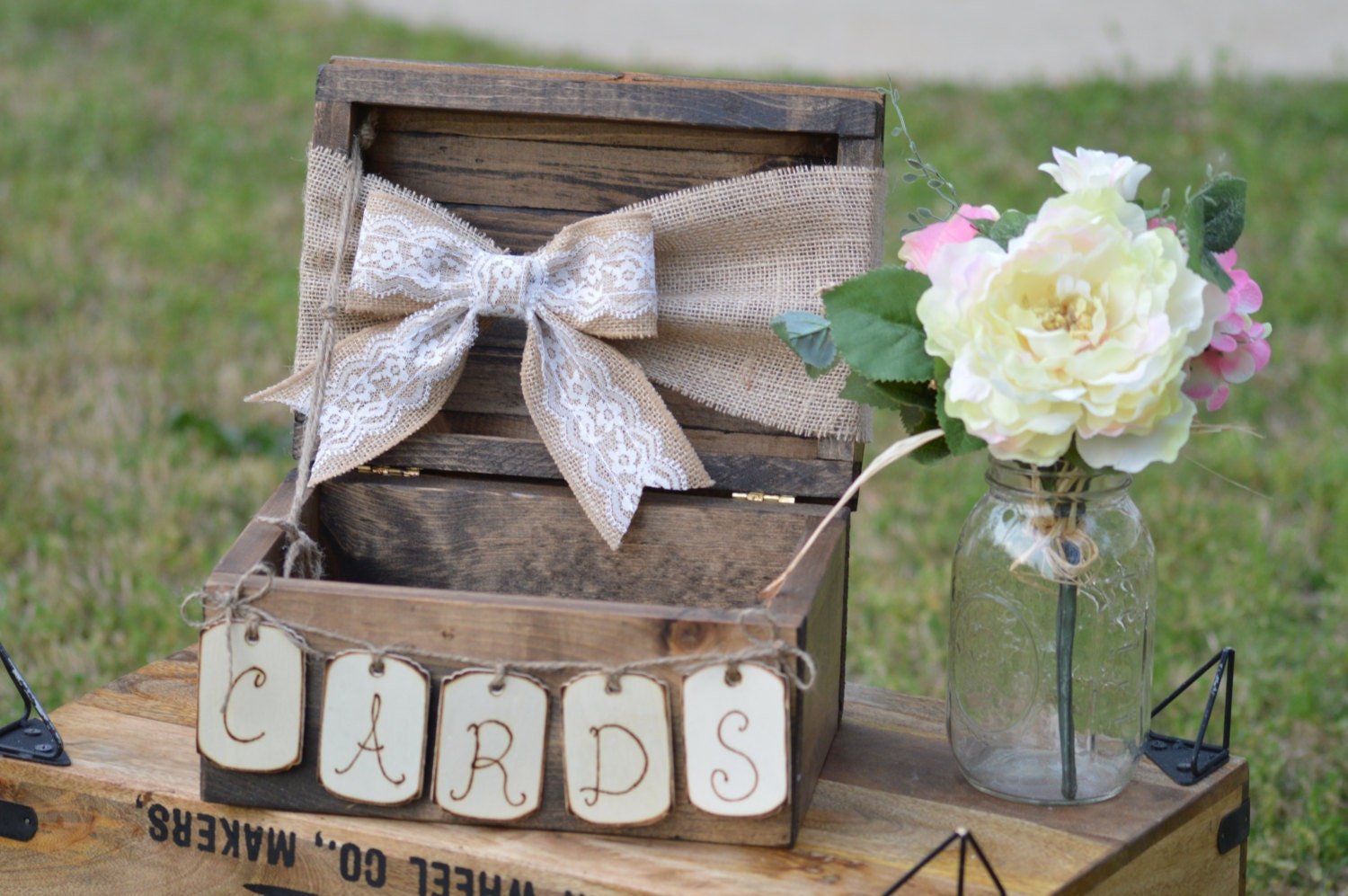 Burlap And Lace Wedding Card Box Shabby Chic Wedding Card Etsy