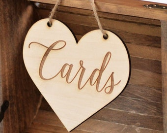 rustic wedding cards sign, wood burned heart cards sign shabby chic wedding decor DIY bride