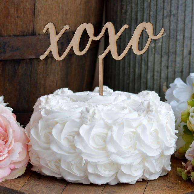 Xoxo Valentines Cake Topper Hugs And Kisses Love Cake Topper