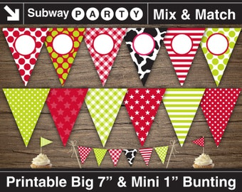 printable cowboy party banner and mini cake bunting red baby etsy