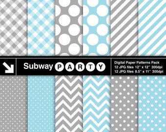 Baby Blue and Grey Chevron, Polka Dots, Stripes & Gingham Digital Papers Pack. Scrapbook / Invites DIY 8.5x11 / 12x12 jpg INSTANT DOWNLOAD