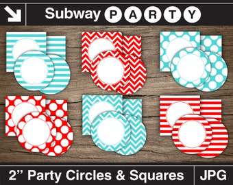 Teal, Red Party Printable Circles and Squares / Cupcake Toppers / Food Buffet Labels, Favor Tags. DIY Blank Editable. Jpg INSTANT DOWNLOAD.