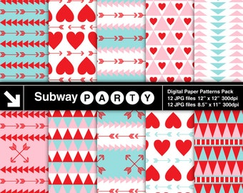 Tribal Style Valentine's Day Digital Papers. Pink Aqua Blue Red Hearts & Arrows. Scrapbook / Card DIY 8x11, 12x12 jpg INSTANT DOWNLOAD