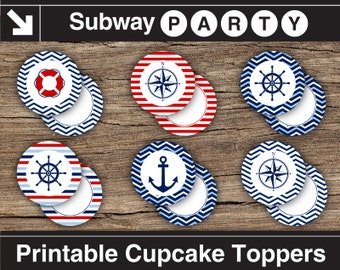 """Printable Nautical 2"""" Party Circles & Squares / Cupcake Toppers / Blank Labels, Tags. Navy, Red. Add Your Own Text DIY jpg. INSTANT DOWNLOAD"""