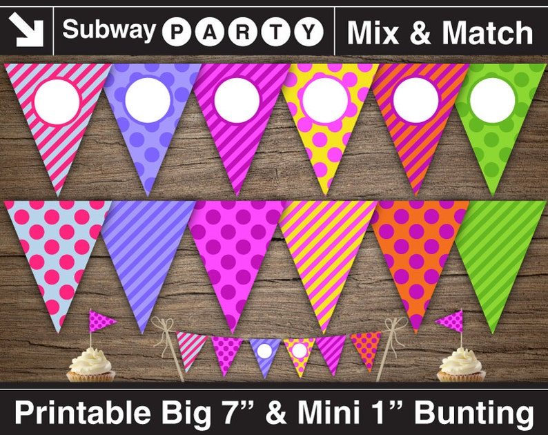 Printable Rainbow Birthday Party Banner And Mini Cake Bunting