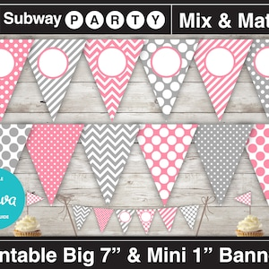 Polka Dots Girl/'s Printable Stripes First Birthday Photo Banner ONE Chevron 1st Birthday Photo Banner Pink and Green