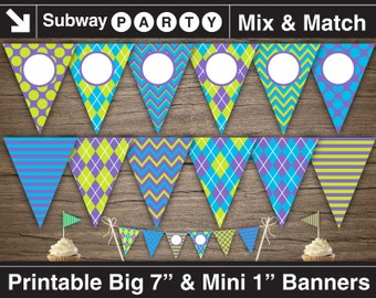 Monsters Party Printable Banner and Mini Cake Bunting. Purple Green Blue Argyle, Chevron. DIY Editable Banner Blank Text. INSTANT DOWNLOAD.