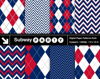 """Red White Blue Patriotic 4th of July Chevron and Argyle Digital Papers Pack. Scrapbook / Invites / Card DIY 12""""x12"""" jpg. INSTANT DOWNLOAD"""