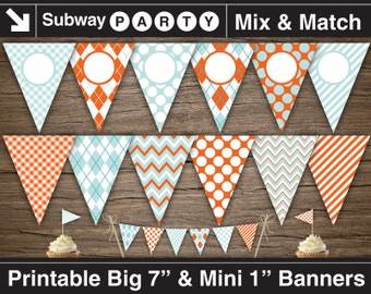 Pastel Aqua and Coral Orange Printable Banner and Mini Cake Bunting. Chevron, Argyle, Dots. DIY Editable Banner Blank Text. INSTANT DOWNLOAD