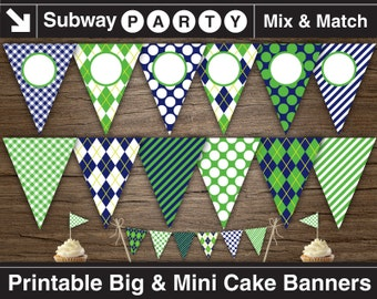Printable Golf Party Banner and Mini Cake Bunting. Navy Blue, Green Argyle, Stripes & Golf Balls. DIY Editable Banner. INSTANT DOWNLOAD.