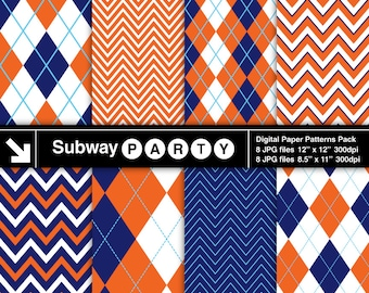 Navy Blue and Orange Digital Papers Pack in Chevron and Argyle. Scrapbook / Party Papers / Invites DIY 8.5x11 / 12x12 jpg INSTANT DOWNLOAD