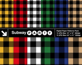 Multicolor Lumberjack Buffalo Check Plaid Digital Papers. Red Black Green Blue Yellow Tan & White. 12x12 / 8.5x11 JPGs INSTANT DOWNLOAD