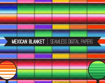 """Mexican Blanket Serape Stripes Seamless Digital Papers for Cinco de Mayo or Fiesta Party, Scrapbook. 12""""x12"""" & 8""""x11"""" JPGs. INSTANT DOWNLOAD"""