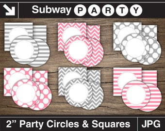 Pink, Grey Girl Baby Shower Party Circles and Squares / Cupcake Toppers Printable DIY / Blank Labels, Tags. Editable Jpg. INSTANT DOWNLOAD.