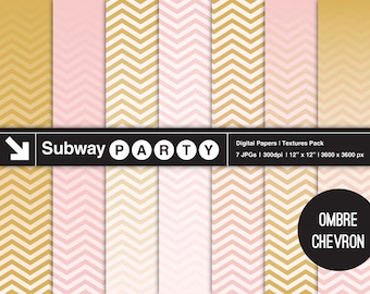 Ombre Chevron Rose Gold Digital Papers. Gradient Fade Chevron Horizontally Seamless Scapbook Papers 12x12 Jpgs. INSTANT DOWNLOAD