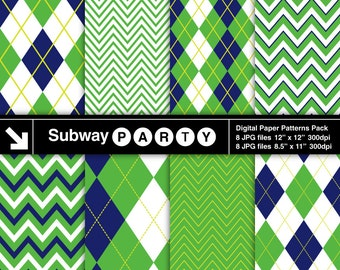 Golf Party Digital Papers. Navy Blue and Green Chevron and Argyle Scrapbook / Party Papers, DIY Invites. 8.5x11 & 12x12 Jpg INSTANT DOWNLOAD
