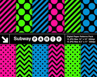 Classic Neon Colors Digital Papers. Pink, Blue, Lime Chevron, Dots & Stripes. Scrapbook / Party Papers 8.5x11, 12x12  jpg INSTANT DOWNLOAD