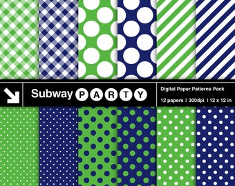 Navy Blue and Green Polka Dots, Candy Stripes and Gingham Digital Papers. Preppy. Invites / Card DIY / Scrapbook 12x12 jpg. INSTANT DOWNLOAD