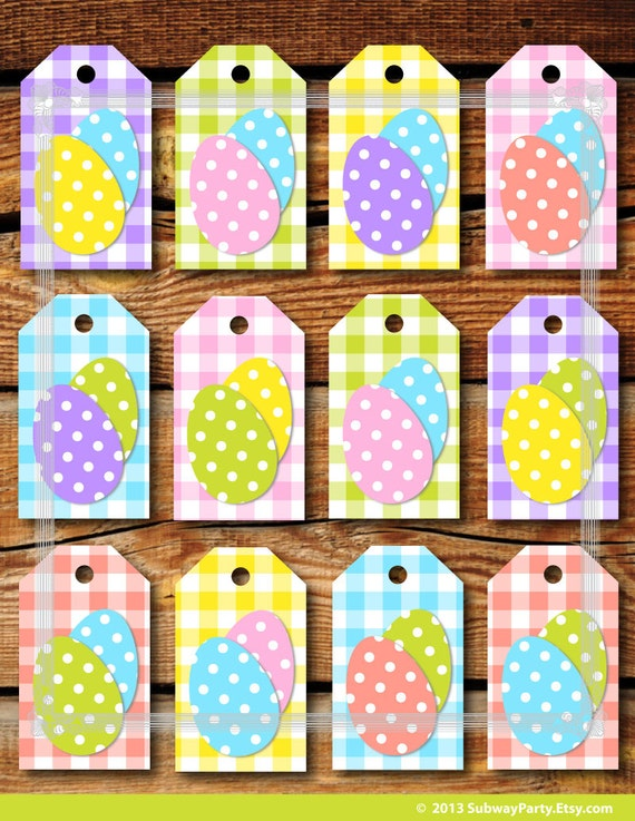 Printable easter gift tags pastel color gingham and easter negle Images