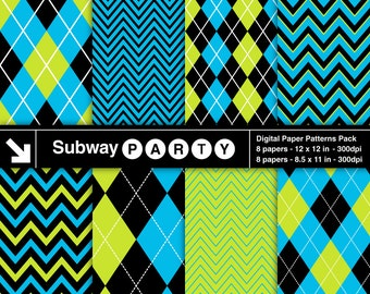 Monsters Party Digital Papers Pack in Blue, Green & Black Chevron and Argyle. Scrapbook / Invites DIY 8.5x11 / 12x12 jpg. INSTANT DOWNLOAD