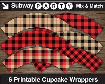 Lumberjack Cupcake Wrappers / Cupcake Liners. Printable DIY. Khaki, Red and Black Buffalo Check, Gingham & Tartan Plaid. INSTANT DOWNLOAD.