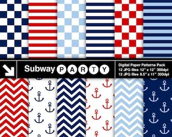 Nautical Navy, Blue, Red Chevron, Anchors, Checks & Stripes Digital Papers. Scrapbook / Invites DIY 8.5x11 / 12x12 jpg INSTANT DOWNLOAD